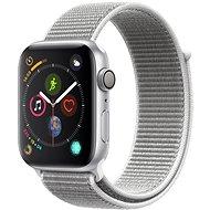 Apple Watch Series 4 44 mm Strieborný hliník s mušľovo bielym prevliekacím športovým remienkom