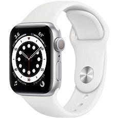 Apple Watch Series 6 40 mm Strieborný hliník s bielym športovým remienkom