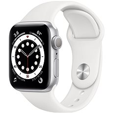 Apple Watch Series 6 44 mm Strieborný hliník s bielym športovým remienkom