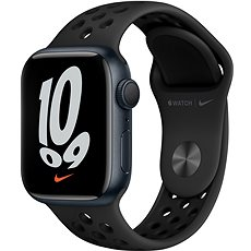 Apple Watch Nike Series 7 41 mm Polnočno sivý hliník s antracitovým/čiernym športovým remienkom Nike