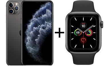 iPhone 11 Pro Max 256GB vesmírne sivý + Apple Watch Series 5 44 mm Vesmírne sivý hliník s čiernym remienkom - ROZBALENÉ